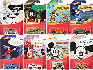Mickey Mouse Series Hot Wheels Exclusive 8 Car Set - Steamboat Willie / Fantasia / Brave Little Tailor / Band Concert / Prince Pauper / Club