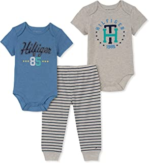Tommy Hilfiger Baby Boys 3 Pieces Bodysuit Pants Set