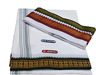 Mps cotton Cool 100% Pure Men's Rich Cotton 2.00 Mts Single Dhoti + 1.80 Mts Big Angavastam Towel Set Green Maroon Border ...