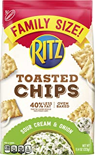 Ritz Toasted Chips, Sour Cream & Onion, Family Size, 11.4 Oz