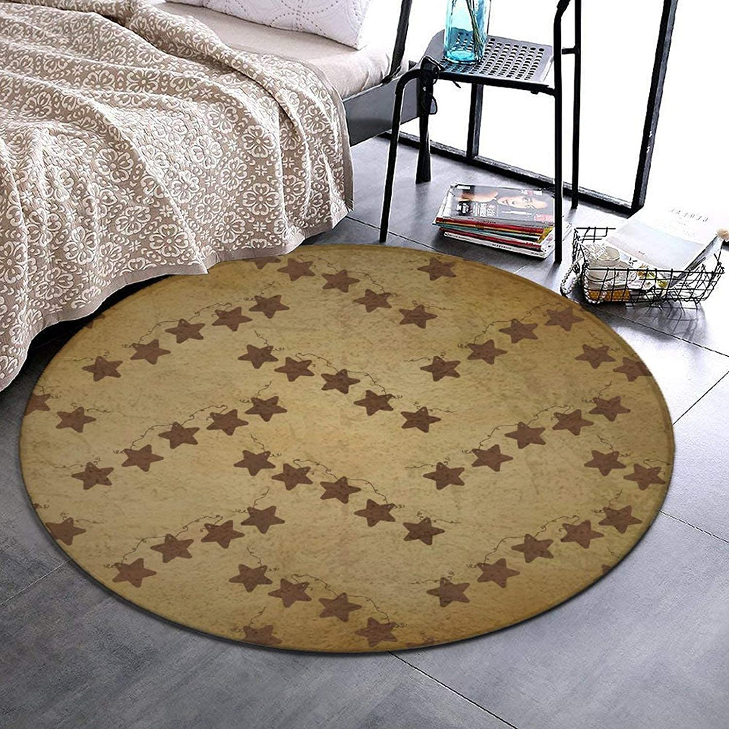 Round Area Rug Brown Vintage Rusty Colorado Springs Mall New Shipping Free Shipping Country Stars Rust Primitive