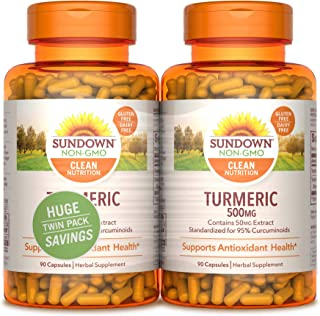 Sundown Turmeric 500mg 90 + 90 Twin Pack Herbal Supplements, 180 Count