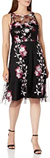 Sandra Darren womens 1 PC Sleeveless Embroidered Mesh Fit & Flare Dress Dress