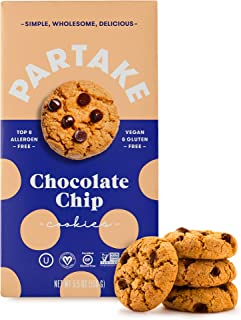 Partake Crunchy Cookies - Chocolate Chip | 2 Boxes | Vegan & Gluten Free | Free of Top 8 Allergens | Safe for the School Yard | Tasty, Nutritious & Less Sugar | (Packaging May Vary)