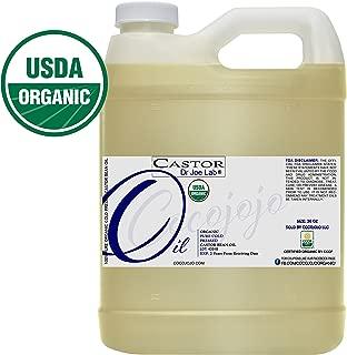 Castor Oil 32 oz USDA Organic Certified Cold-Pressed, 100% Pure, Hexane-Free Castor Oil - Ricinus Communis Moisturizing For Dry Skin Hair Care Eyelashe Eyebrows 1 Quart By Weight Caster Oil Coco Jojo
