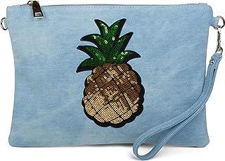 styleBREAKER Jeans Clutch mit Glitzer Pailletten Ananas, Schulterriemen und Handschlaufe, Tasche, Damen 02012176, Farbe:He...