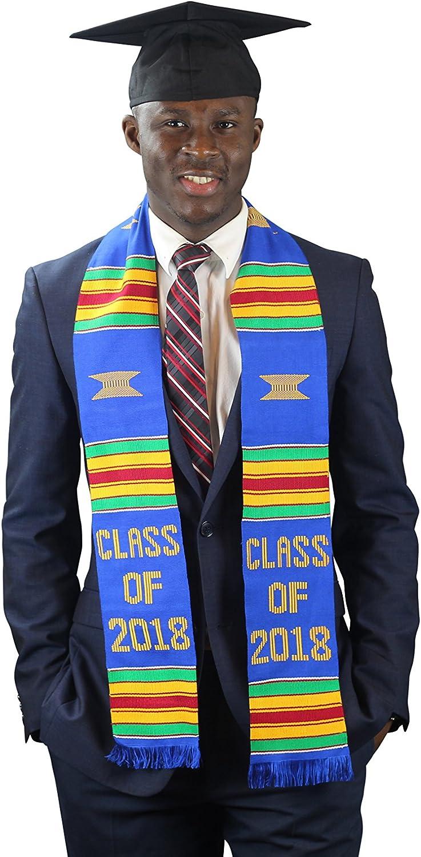 DashikiMe Class of 2018 Graduation Stole (bluee),Black,One Size