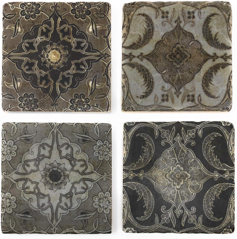 Studio greenu Vintage Tiles Marble Coasters, Set of 4
