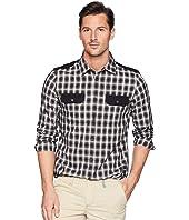 Solid Pocket Flap Nebraska Check Button Down Shirt