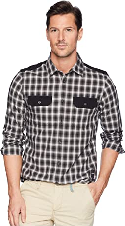 Solid Pocket Flap Nebraska Check Button Down Shirt