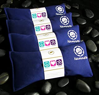 Happy Wraps Namaste Yoga Eye Pillows - Lavender Eye Pillows for Yoga - Weighted Aromatherapy Eye Pillow Mask for Yoga - Stress Relief and Relaxation Gifts Hot Cold Therapy - Set of 4 - Navy Cotton
