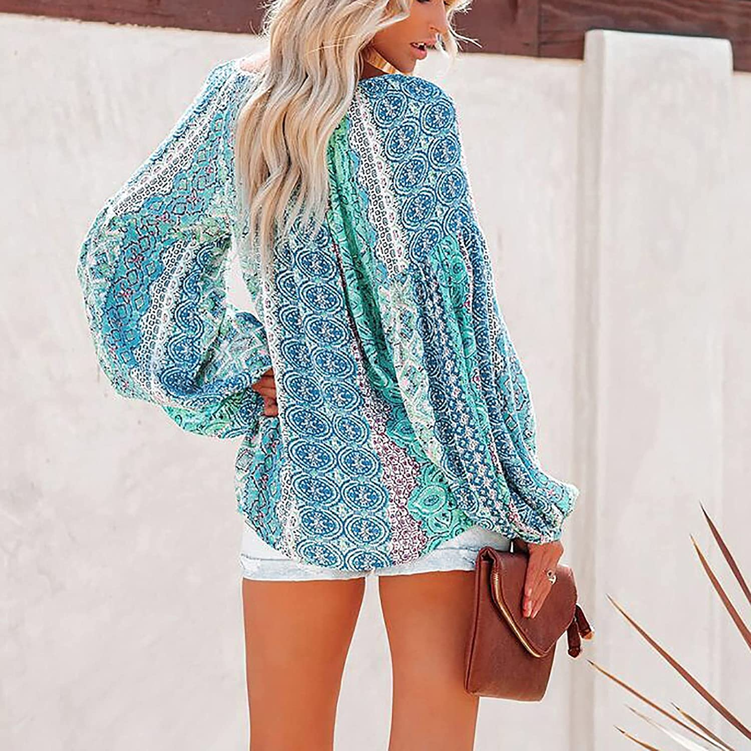 Women Tops Loose Fit V-Neck Vintage Lantern Long Sleeve Blouse Casual Shirt Sweater Plus Size Tunic Tees Pullover