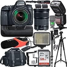 Canon EOS 6D Mark II DSLR Camera w/Canon 24-105mm STM Lens Kit + Pro Photo & Video Accessories Including 128GB Memory, Speedlight TTL Flash, Battery Grip, LED Light, Micorphone, 60