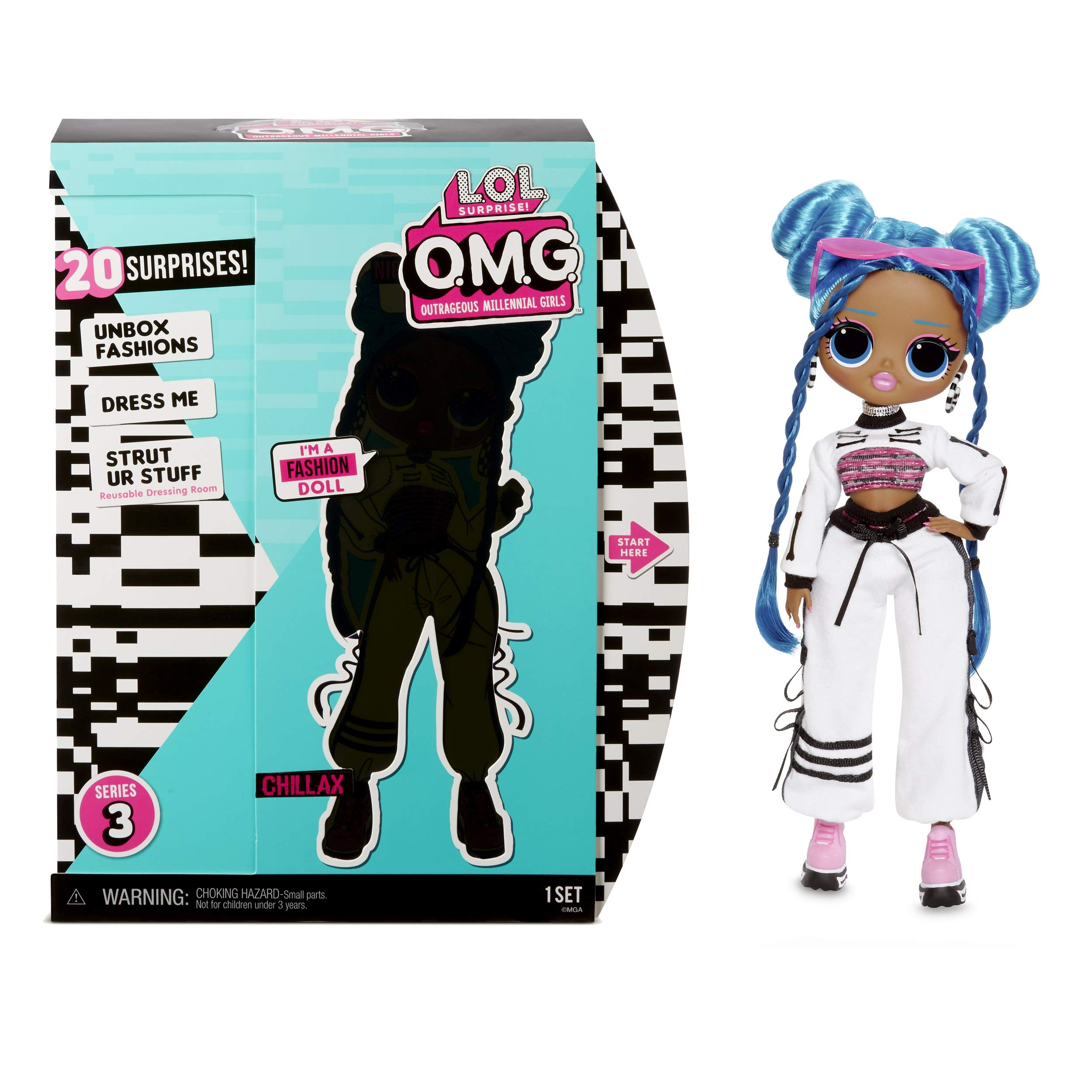 LOL 서프라이즈 OMG 시리즈 3 '칠렉스' 패션 인형 L.O.L. Surprise! O.M.G. Series 3 Chillax Fashion Doll with 20 Surprises