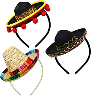 3 piezas Cinco De Mayo Fiesta de tela y pajita Sombrero