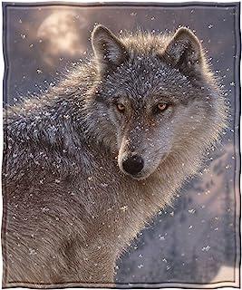 "Dawhud Direct Lone Wolf Super Soft Full/Queen Size Plush Fleece Blanket, 75"" x 90"""