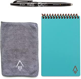 Rocketbook Everlast Smart Reusable Notebook - Dotted Grid Eco-Friendly Notebook with 1 Pilot Frixion Pen & 1 Microfiber Cloth Included - Neptune Teal Cover, Mini Size (3.5