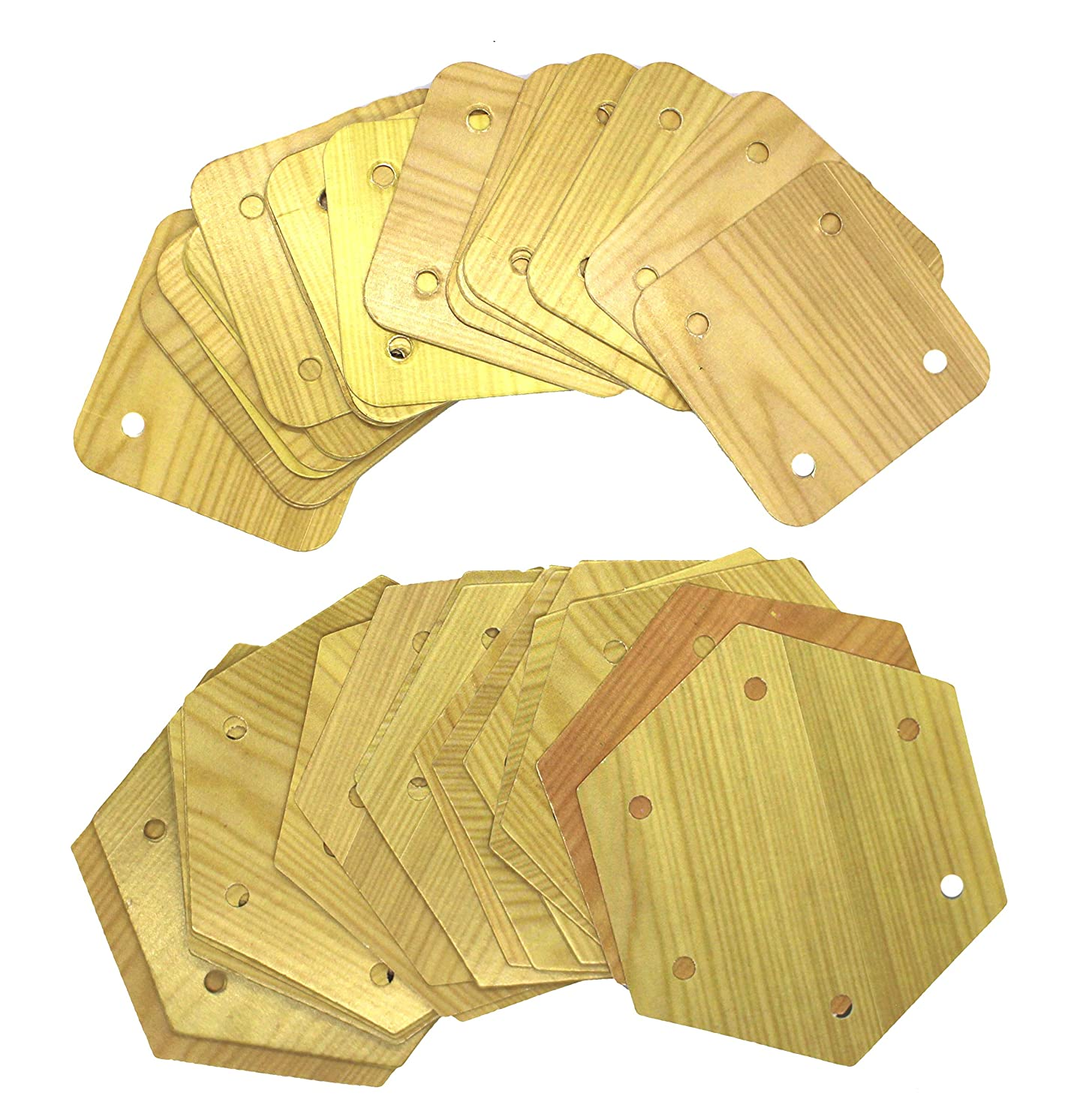 Paper Tablet Weaving Cards with Wood Grain Print. (3.25x3.25 6 Hole)