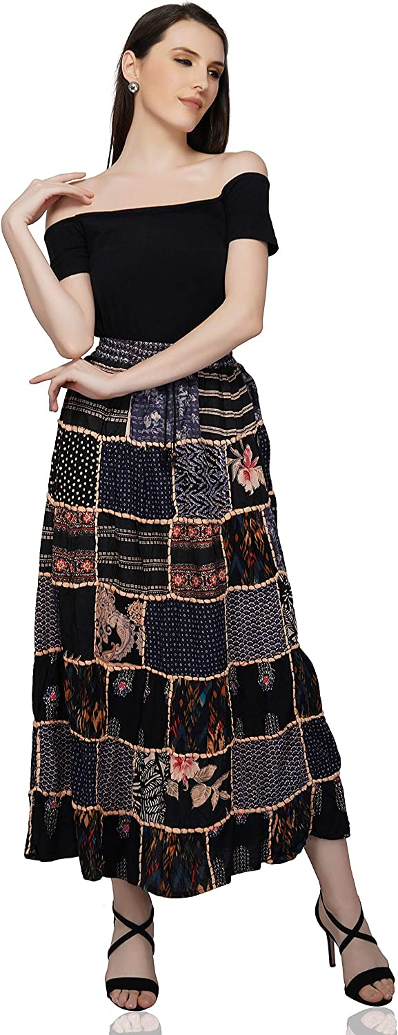 OMA Women's Patchwork Long Skirt Hippie Boho Indian Vintage Style- Premium Quality Brand
