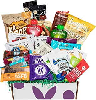 Deluxe Vegan Protein Snacks Box: Mix of Healthy Vegan Protein Bars, Cookies, Vegan Jerky, Chips & Nuts Health Care Package Gift Box (30 Count)