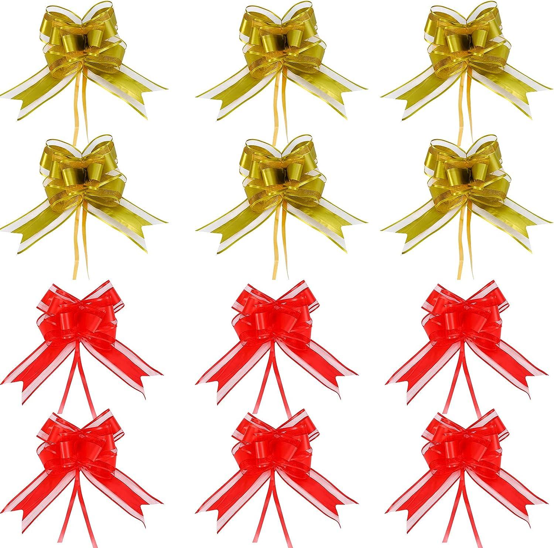 Arcos de Navidad,40 piezas Lazo de tirador de cinta Envoltura de flores de Navidad Arcos decorativos Arcos de regalo de cesta Arcos Decoración de coche para regalos Decoración de boda