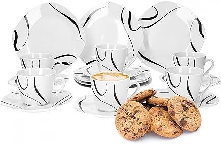 Preisvergleich für Van Well Galaxy 18-tlg. Kaffeeservice, für 6 Personen, Kuchenteller + Kaffeetasse und Untertasse im Set, Liniendekor, Geschirrzubehör, edles Marken-Porzellan