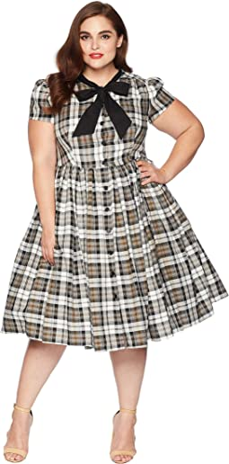 Plus Size 1950s Style Button Up Swing Dress