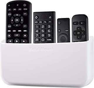 TotalMount Hole-Free Remote Holder - Eliminates Need to Drill Holes in Your Wall (for 3 or 4 Remotes - White - Quantity 1)