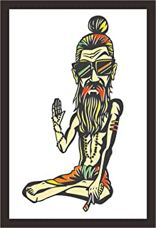 Mad Masters Funky Baba - Yogi Holding a Joint or Cigarette. 1 Piece Wooden Framed Painting |Wall Art | Home D�cor | Painti...