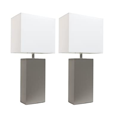 Elegant Designs LC2000-GRY-2PK 2 Pack Modern Leather Table Lamps with White Fabric Shades, Gray, 2 Count