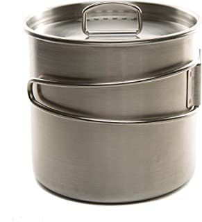 DZO Camping Hiking Outdoor Cookware Set - 20 oz/600ml Stainless Steel Cooking Cup Pot with Vented Lid, Folding Handles and...