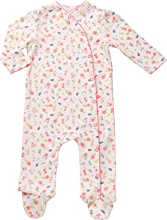 Asher and Olivia Newborn Footed Pajamas Girls Baby Sleepers Side Snap Onesie Footies Knotted Nb Cream
