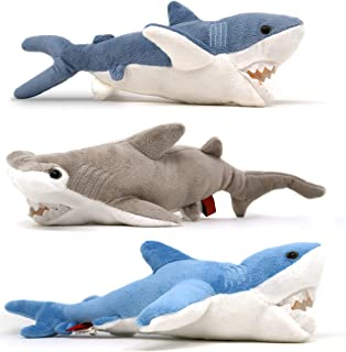 4E's Novelty 3 Stuffed Plush Animal Sharks - Mako Hammerhead and Blue Shark – 13 Inches - Ocean Life Party Favors Supplies - Soft Cuddly Shark Week Toy for Toddlers & Kids