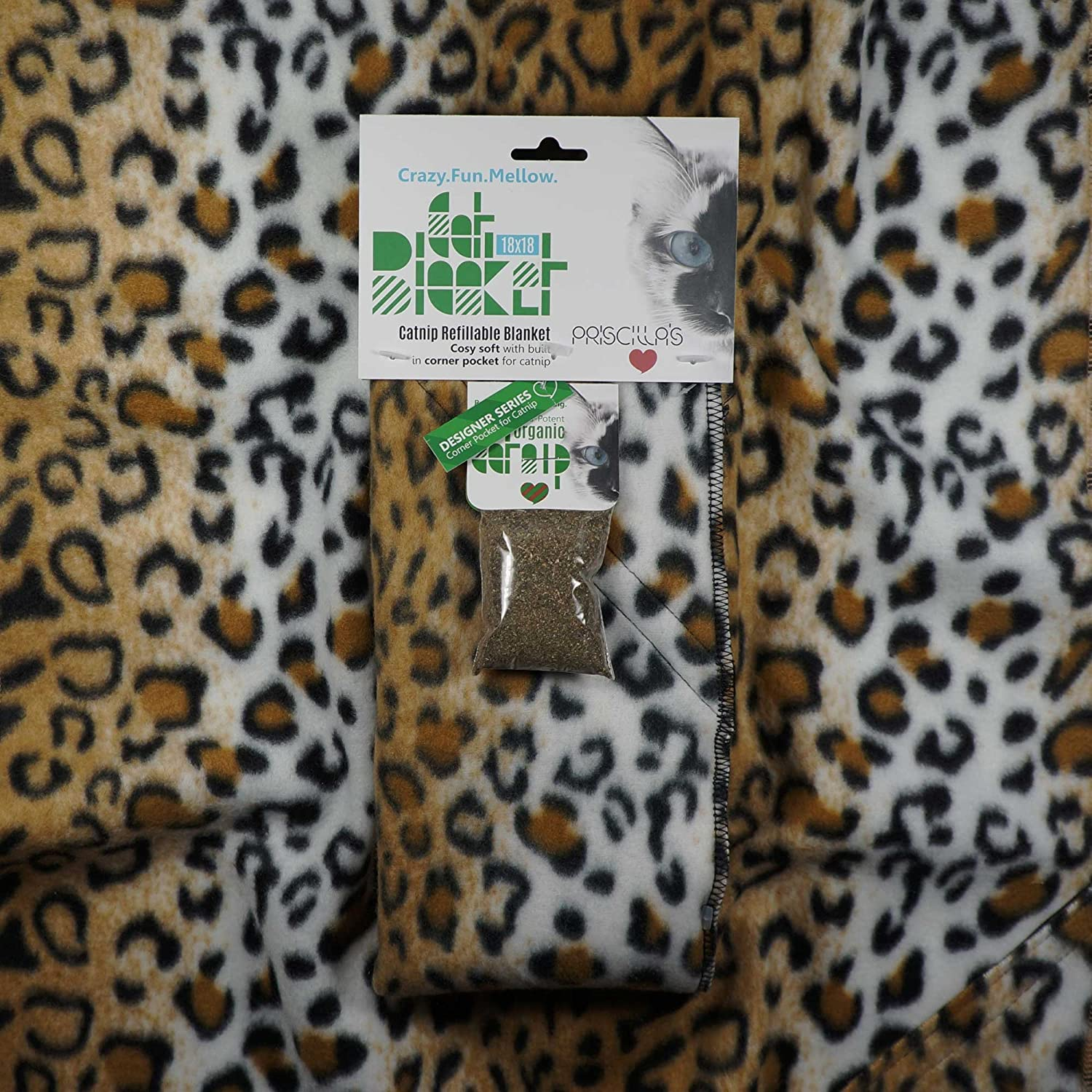 Cat Blanket 18 x 18 Cozy Soft with Built in Corner Pocket for Catnip (Free Catnip Included) (Cheetah)