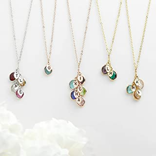 Mother's Day Gift for Her Personalized Birthstone Necklace for mothers Initial Necklace for Women Gifts Birthstone Jewelry Family Tree Necklace Grandmother Gift Christmas Gift - BSON-L-D