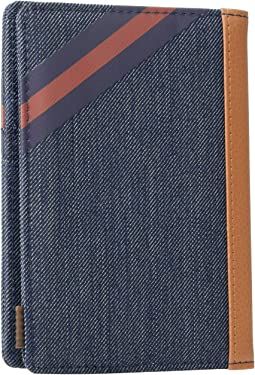 Indigo Denim/Synthetic Leather Stripe Peacoat/Picante
