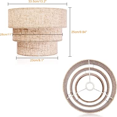 EDISLIVE 3-Tier Drum Linen Lamp Shade for Pendant Lamp Floor Lamp Chandelier Replacement Shade Clip on Bulb Classic Round Lam
