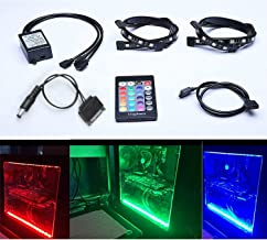 Tingkam Full Kit RGB 5050 SMD 2pcs 18leds 30cm LED Strip Light Attached to Your PC Case via Magnet with 24 Key Remote Controller for Desktop Computer Mid Tower Case (The 2nd Generation)