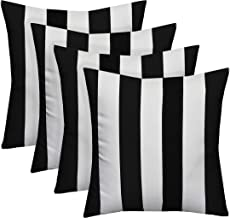 Resort Spa Home Decor Set of 4 Indoor/Outdoor Square Decorative Throw/Toss Pillows Black..