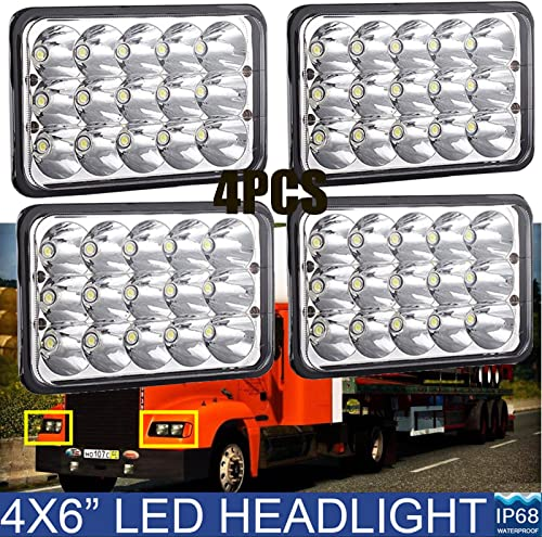 """wholesale 4x6"""" Inch Rectangular LED Headlights Sealed Beam Headlamp H4651 H4652 outlet online sale H4656 H4666 H6545 Waterproof for Kenworth Peterbilt 378 357 379 – Pack of outlet sale 4 outlet online sale"""