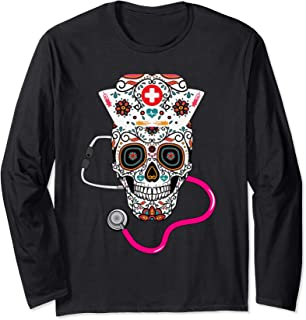 Nurse Sugar Skull funny Nurse Halloween Costume Long Sleeve T-Shirt