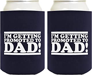 Funny Beer Coolie Promoted to Dad Proud Expecting Father Gift 2 Pack Can Coolies Drink Coolers Navy