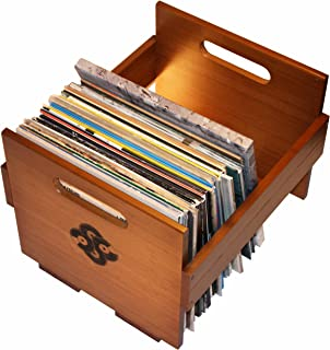 Sound Stash Vinyl Storage Music Box, Smooth Bamboo Solid Wood Crate, Record Holder, Vinyl Organizer, Made to Last with Bamboo. Album Milk Crate. Holds Over 80 Single Records.