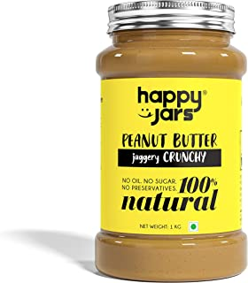 Happy Jars 1kg Jaggery Crunchy Peanut Butter, 10g Protein/serving, Natural, No Sugar