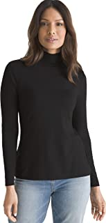 Chico's Women's Essential Stretch Knit Relaxed Fit Long Sleeve Mock Neck Solid Top