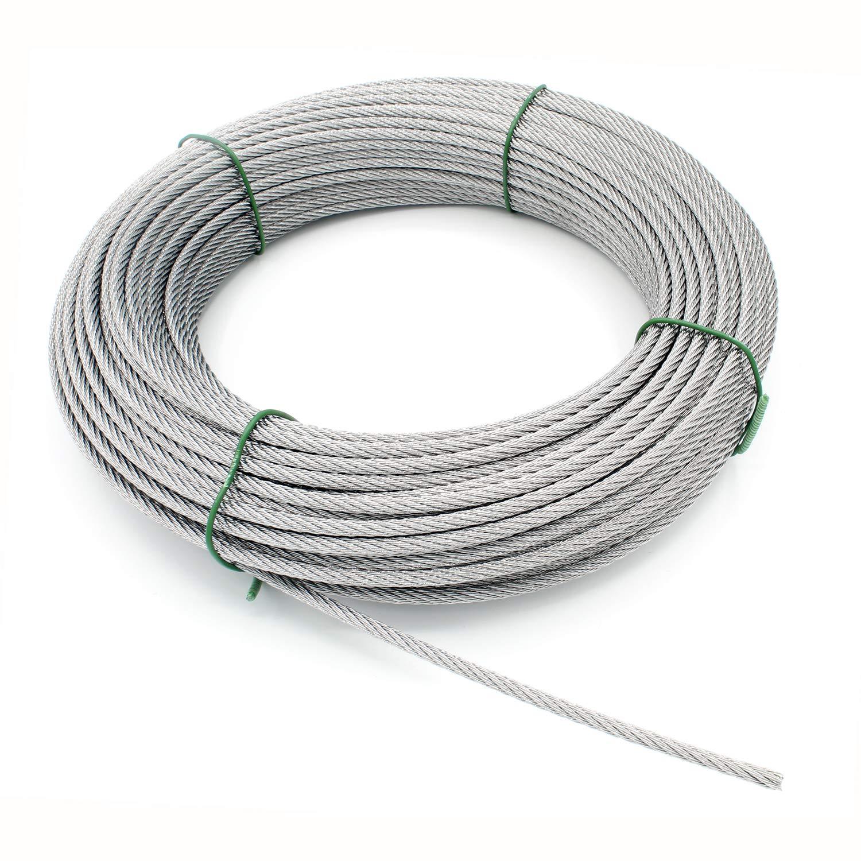 1-100m 7x19 FUNE ACCIAIO INOSSIDABILE 1,5-10mm metallico corda cavo AISI 316 V4A
