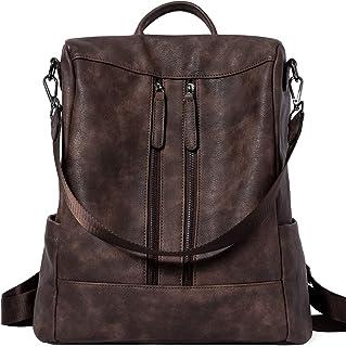 Rucksack Damen Anti Diebstahl Rucksack Damenrucksack aus Leder Rucksackhandtasche Tagesrucksack für Frauen Mädchen, Kaffee...