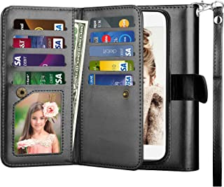 Njjex for LG Aristo Wallet Case, for LG Fortune/LG MS210/LG LV3/LG K8 2017 Case, PU Leather [9 Card Slots] Credit Card Holder Flip Cover [Detachable] [Kickstand] Phone Case & Wrist Lanyard [Black]