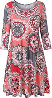 Tanst Sky Womens Casual Round Neck Plus Size Floral Tunic Shirt Dress with Pockets