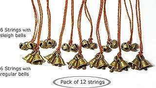 AzKrafts Mini Brass Hanging Bells on String I Hanging Sleigh Bells, Regular Bells, Combo Bells, for Home Decor I Indian Hanging Jingle Bells on Braided String (6